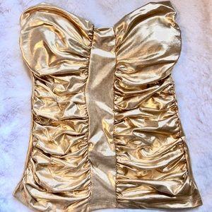 Tops - Gold strapless shirt top